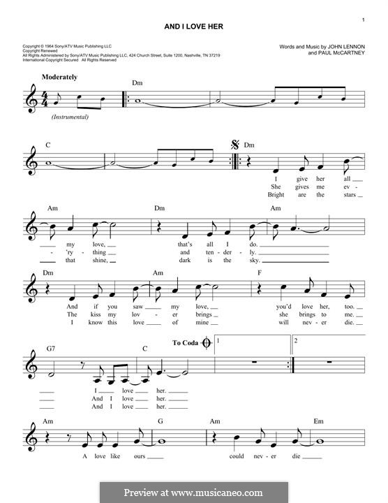 And I Love Her (The Beatles): melodia by John Lennon, Paul McCartney