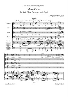 Mass in C Major, Op.86: para coral e piano by Ludwig van Beethoven