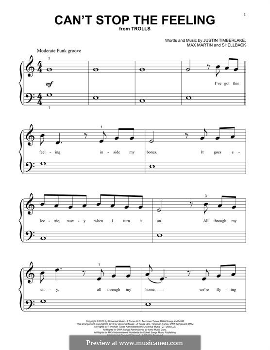 Can't Stop the Feeling: Para Piano by Shellback, Justin Timberlake, Max Martin