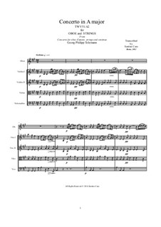 Concerto for Oboe and Strings in A Major, TWV 51:A2: Score, parts by Georg Philipp Telemann