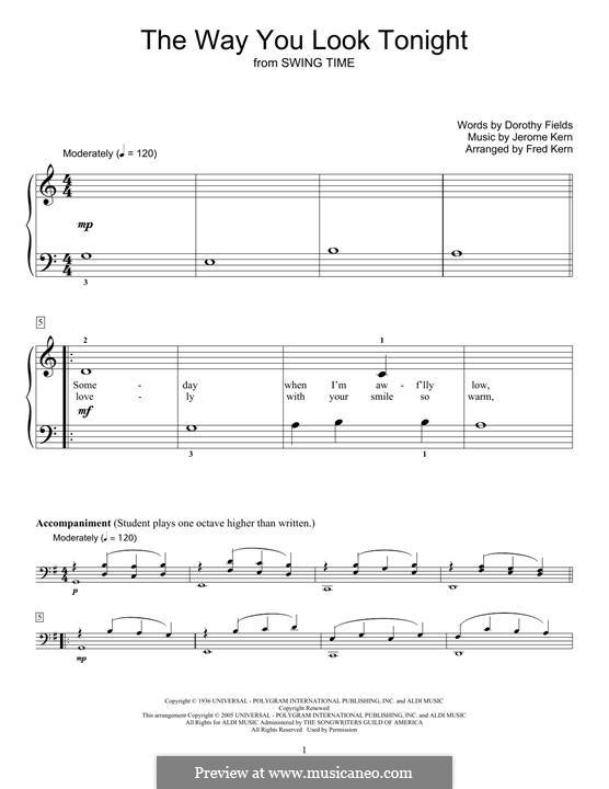 The Way You Look Tonight, for Piano: para um único musico (Editado por H. Bulow) by Jerome Kern