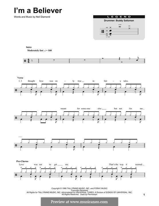 I'm a Believer: Drum set by Neil Diamond