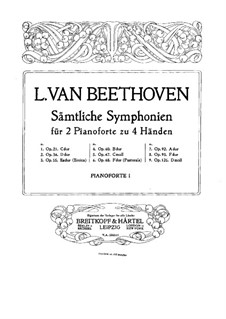Complete Symphony: versão para dois pianos de quatro mãos - piano parte I by Ludwig van Beethoven