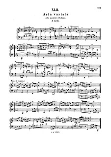 Aria and Variations in Italian Style in A Minor, BWV 989: para cravo by Johann Sebastian Bach