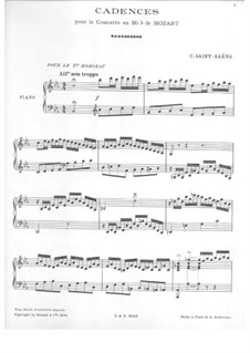 Concerto for Piano and Orchestra No.22 in E Flat Major, K.482: Cadence by Wolfgang Amadeus Mozart