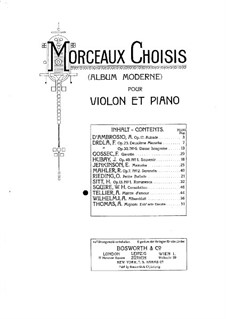 Plainte d'amour. Melodia for Violin and Piano: Plainte d'amour. Melodia for Violin and Piano by Alphonse Tellier