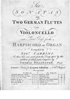 Six Sonatas for Two Flutes, Cello and Basso Continuo, Op.5: flauta parte I by Giuseppe Maria Cambini