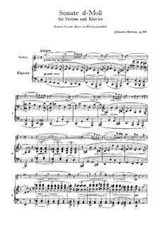 Sonata for Violin and Piano No.3 in D Minor, Op.108: Score, Parte de solo by Johannes Brahms