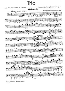 String Sextet No.1 in B Flat Major, Op.18: versão para trio de piano - violoncelo parte by Johannes Brahms
