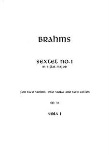 String Sextet No.1 in B Flat Major, Op.18: viola parte I by Johannes Brahms