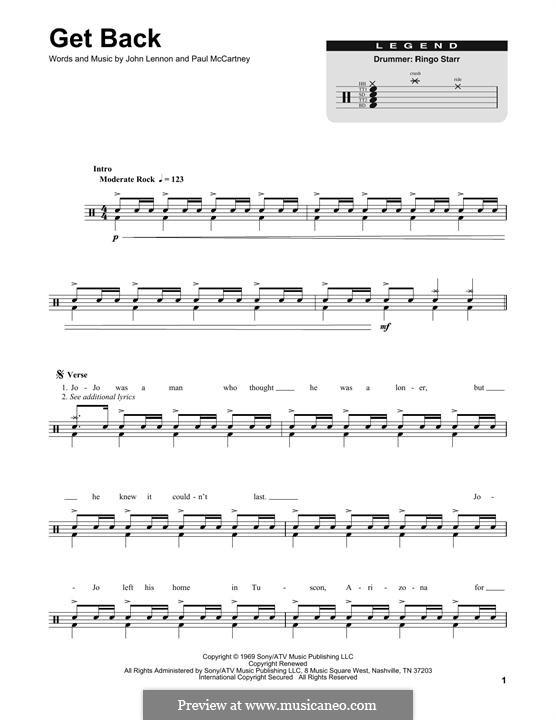 Get Back (The Beatles): Drum set by John Lennon, Paul McCartney