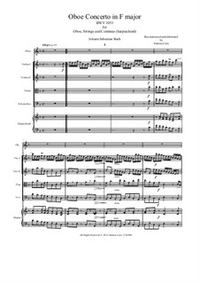 Concerto for Oboe and Strings in F Major, BWV 1053R: Score, parts by Johann Sebastian Bach