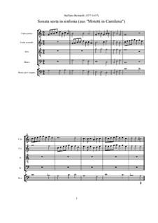 Sonata sesta in sinfonia (aus 'Motetti in Cantilena'): Partitur by Steffano Bernardi
