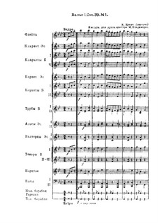 Waltz No.1: Arrangement for wind orchestra by Johannes Brahms