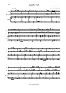 Deck the Hall: For flute, alto flute and piano by folklore