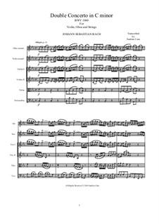 Concerto for Violin, Oboe and Strings No.1 in C Minor, BWV 1060r: Score, parts by Johann Sebastian Bach