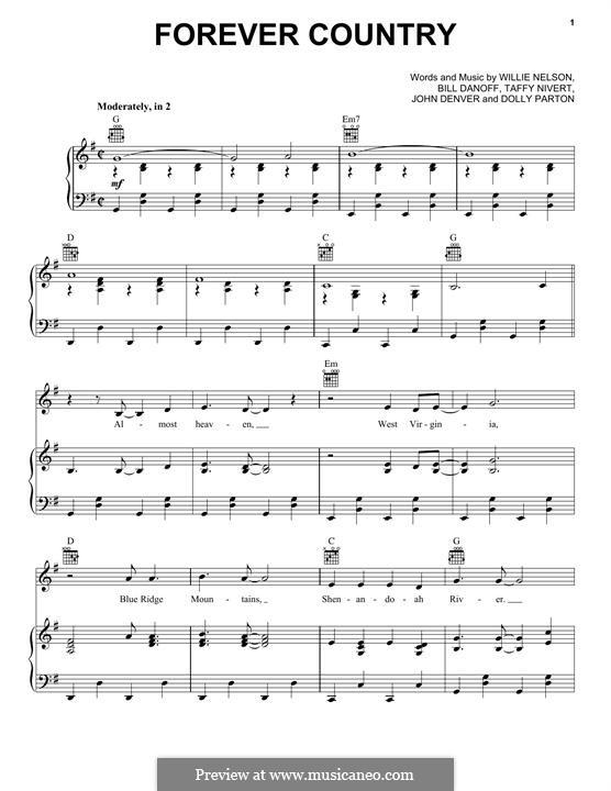 Forever Country (Artists of Then, Now & Forever): Para vocais e piano (ou Guitarra) by Bill Danoff, Dolly Parton, John Denver, Taffy Nivert, Willie Nelson