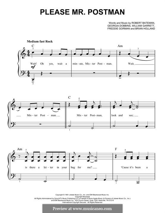 Please Mr. Postman: For piano (The Marvelettes) by Brian Holland, Freddie Gorman, Georgia Dobbins, Robert Bateman, William Garrett