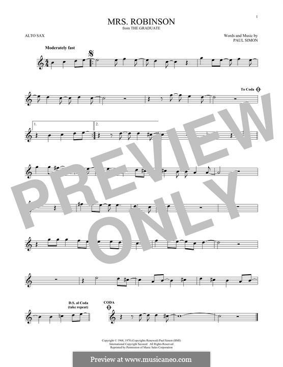 Mrs. Robinson (Simon & Garfunkel): para Saxofone Alto by Paul Simon