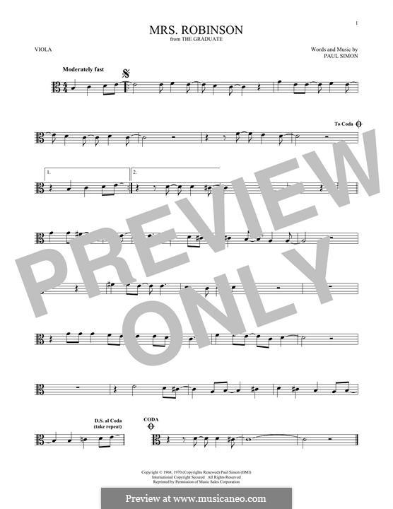 Mrs. Robinson (Simon & Garfunkel): para viola by Paul Simon