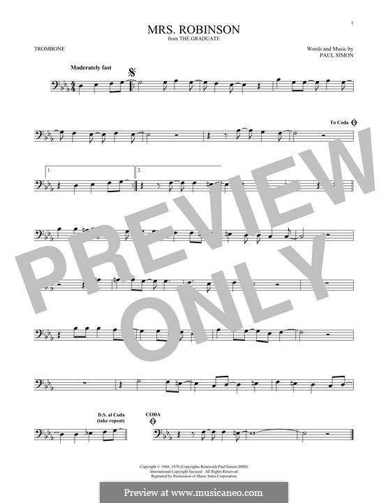 Mrs. Robinson (Simon & Garfunkel): para trombone by Paul Simon
