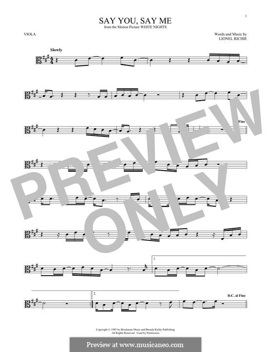 Say You, Say Me: para viola by Lionel Richie