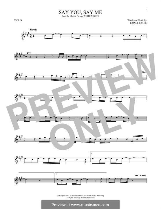 Say You, Say Me: para violino by Lionel Richie