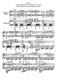 Sonata for Piano No.14 in C Minor, K.457: arranjos para dois pianos de quatro mãos by Wolfgang Amadeus Mozart
