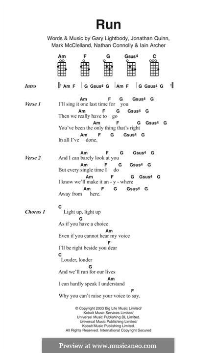 Run: Lyrics and chords (Snow Patrol) by Gary Lightbody, Iain Archer, Jonathan Quinn, Mark McClelland, Nathan Connolly