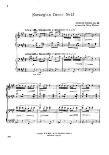 Four Norwegian Dances, Op.35: Dance No.2, for two pianos four hands by Edvard Grieg