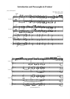 Introduction and Passacaglia: For accordion quartet by Max Reger