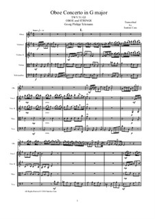 Concerto for Oboe and Strings in G Major, TWV 51:G3: Score, parts by Georg Philipp Telemann