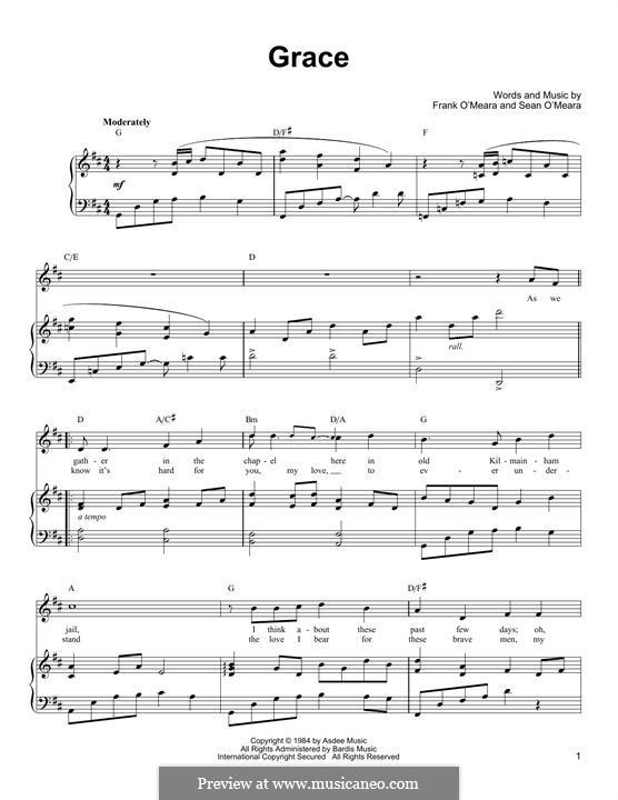 Grace: Para vocais e piano (ou Guitarra) by Frank O'Meara, Sean O'Meara