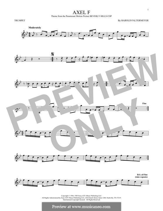 Axel F (from Beverley Hills Cop): para trompeta by Harold Faltermeyer