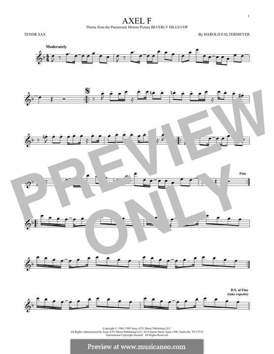Axel F (from Beverley Hills Cop): para saxofone tenor by Harold Faltermeyer