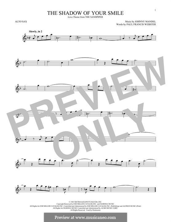 The Shadow of Your Smile (Tony Bennett): para Saxofone Alto by Johnny Mandel