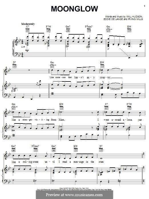 Moonglow: Para vocais e piano (ou Guitarra) by Irving Mills, Eddie De Lange, Will Hudson