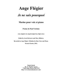 Je ne sais pourquoi: para voz alta e piano by Ange Flégier