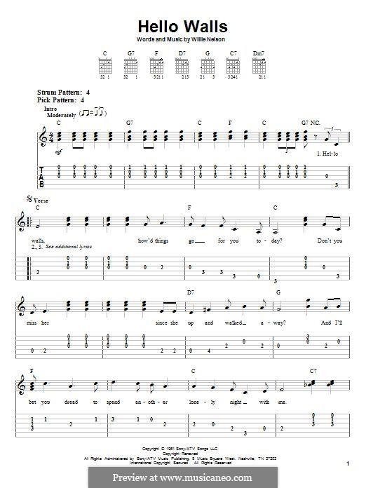Hello Walls (Faron Young): Para guitarra com guia by Willie Nelson