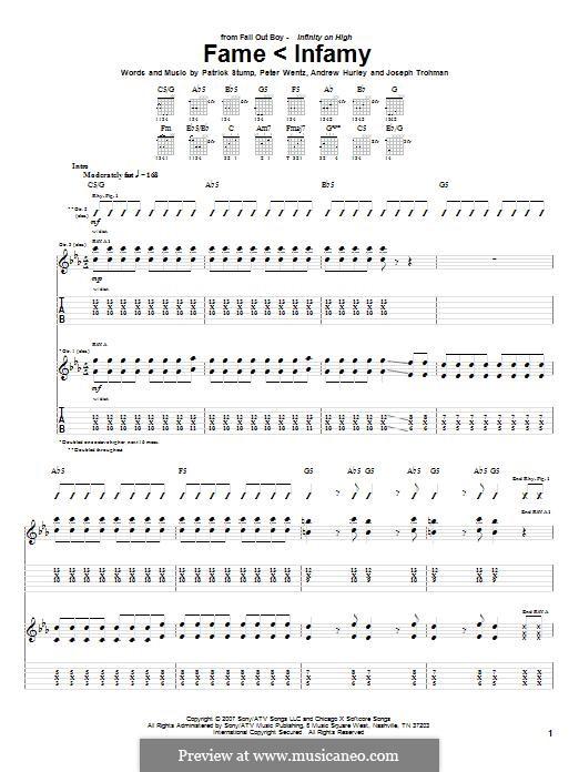 Fame < Infamy (Fall Out Boy): Para guitarra com guia by Andrew Hurley, Joseph Trohman, Patrick Stump, Peter Wentz