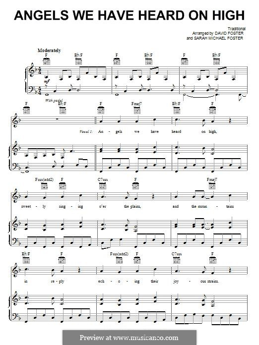 Angels We Have Heard on High: Para vocais e piano (ou Guitarra) by folklore