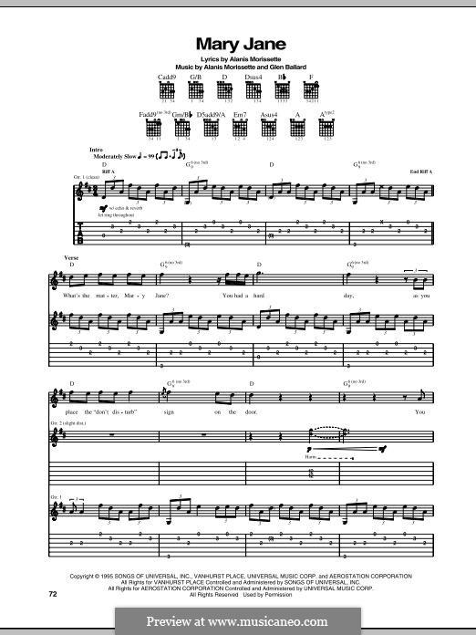 Mary Jane: Para guitarra com guia by Alanis Morissette, Glen Ballard