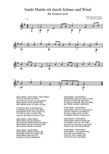 Sankt Martin ritt durch Schnee und Wind: For guitar by folklore