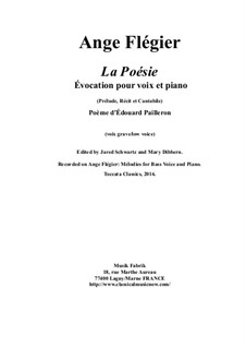 La Poésie: For bass voice and piano by Ange Flégier