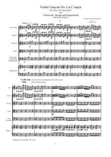La Cetra (The Lyre). Twelve Violin Concertos, Op.9: No.1 Concerto in C Major – score and all parts, RV 181a by Antonio Vivaldi