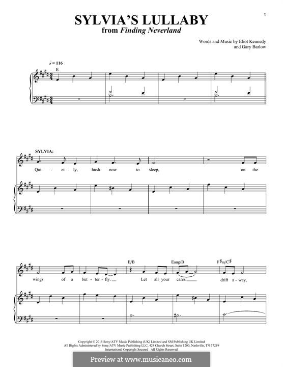 Sylvia's Lullaby (from 'Finding Neverland'): Para Piano by Eliot Kennedy, Gary Barlow