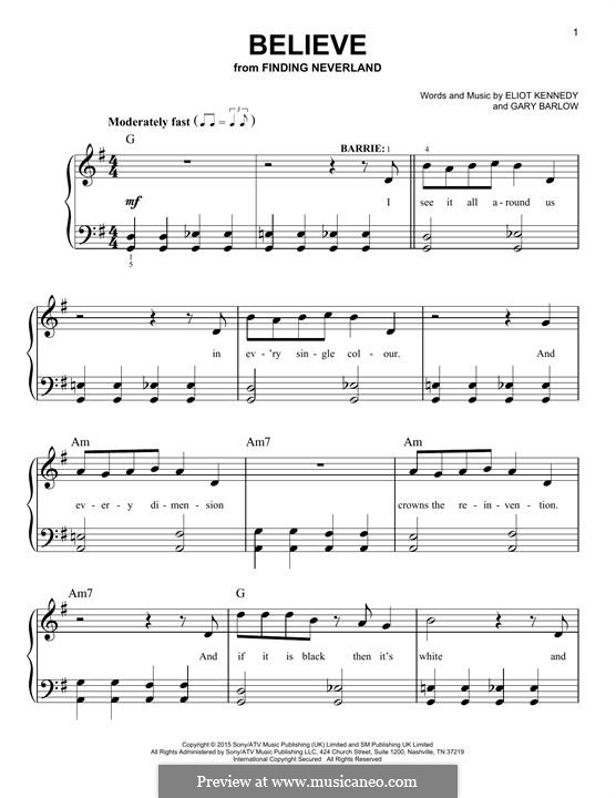 Believe (from 'Finding Neverland'): Para Piano by Eliot Kennedy, Gary Barlow
