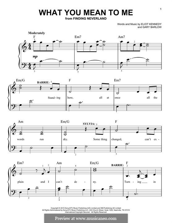 What You Mean To Me (from 'Finding Neverland'): Para Piano by Eliot Kennedy, Gary Barlow