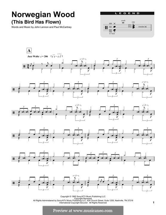 Norwegian Wood (This Bird Has Flown): Drum set by John Lennon, Paul McCartney