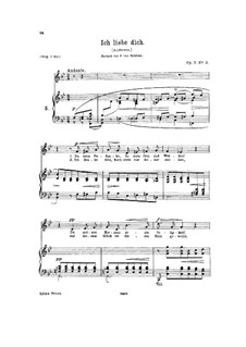 Hjertets Melodier (Melodies of the Heart), Op.5: No.3 Jeg elsker Dig (I Love Thee) in B Flat Major by Edvard Grieg